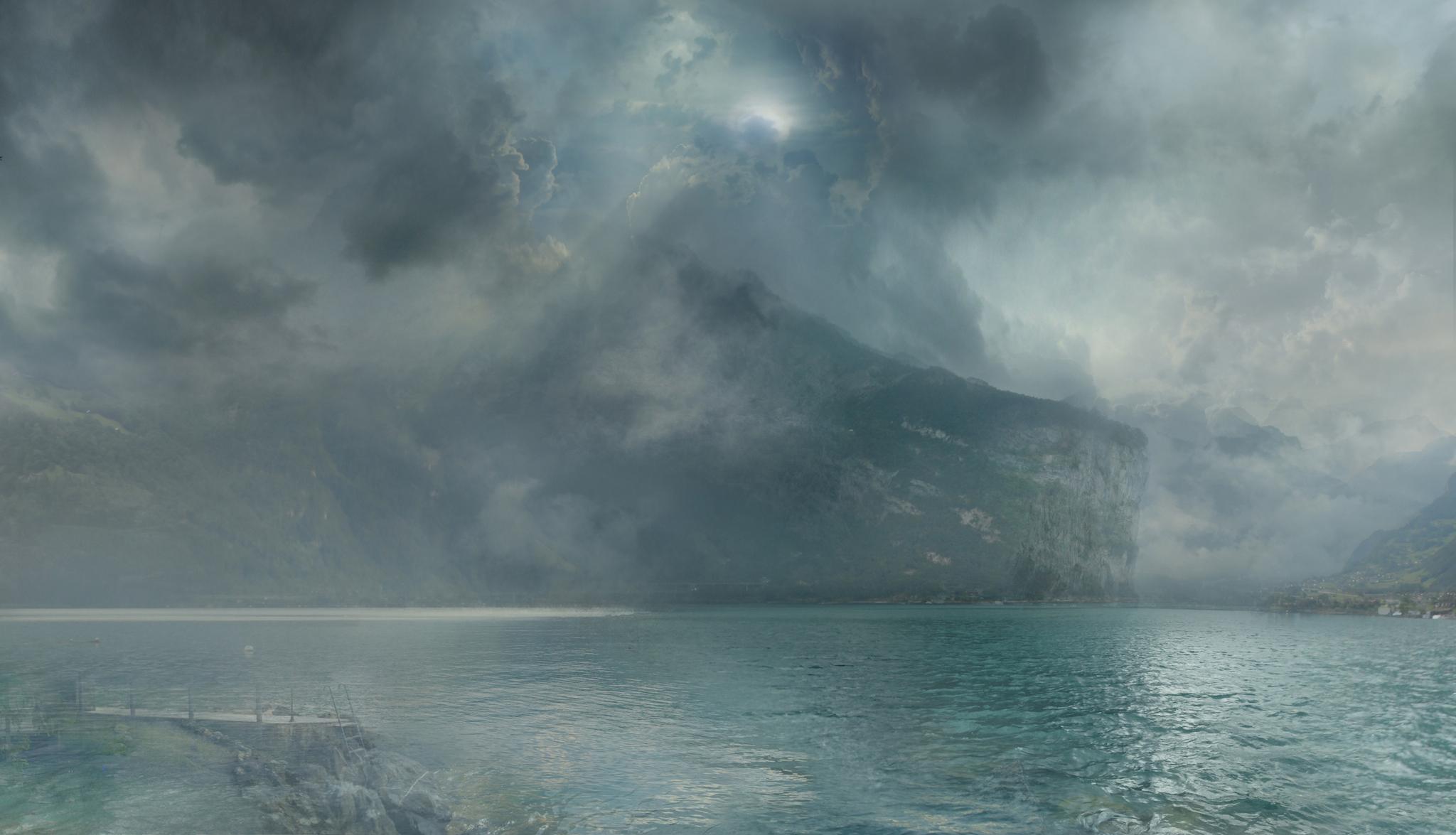 "Hiroyuki Masuyama nach J. M. W. Turner ""On the Lucerne looking towards Fluelen 1841"", 2014 Diasec LED Lightbox Auflage 5 + 1AP, 29 x 48 x 4cm / Courtesy: Galerie Rothamel Erfurt, Frankfurt M."