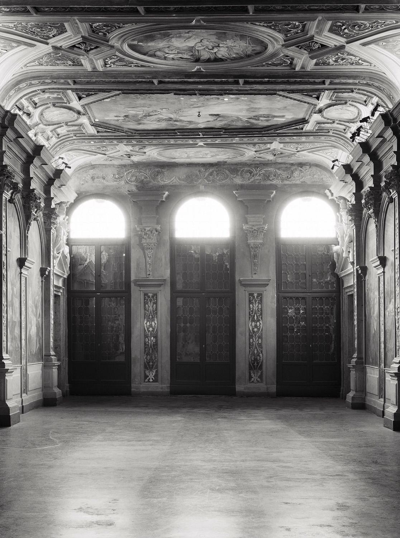 Axel Hütte, Ca' Corner della Regina #2, Italy 2012, black and white photograph printed on glass and mirror 215 x 155 cm / Courtesy: Daniel Marzona Gallery