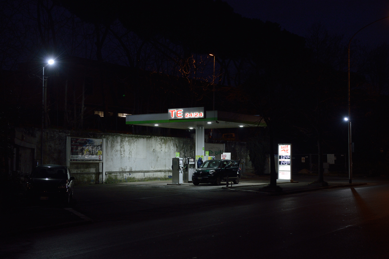 "© Göran Gnaudschun, Petrol Station, from the series ""Are you Happy?"", Via Prenestina, 2017, Rome"