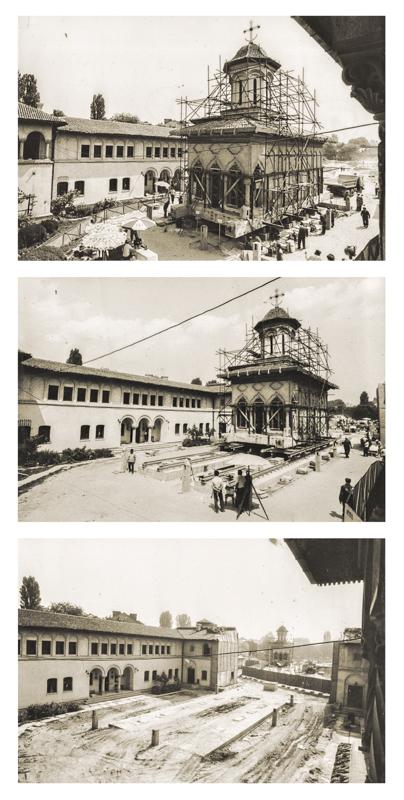 Zusammensetzung von historischen Bilder mit der Versetzung der Verkündigungskirche der »Nonnen-Einsiedelei«, Bukarest 1982, Courtesy Dr. Ing. Eugeniu Iordăchescu