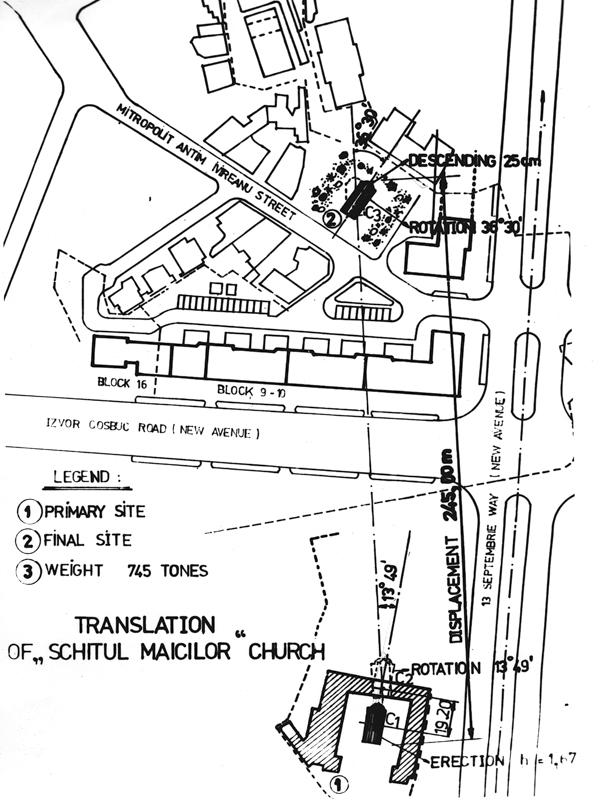Historische Skizze mit der Versetzung der Verkündigungskirche der »Nonnen-Einsiedelei«, Bukarest 1982, Courtesy Dr. Ing. Eugeniu Iordăchescu