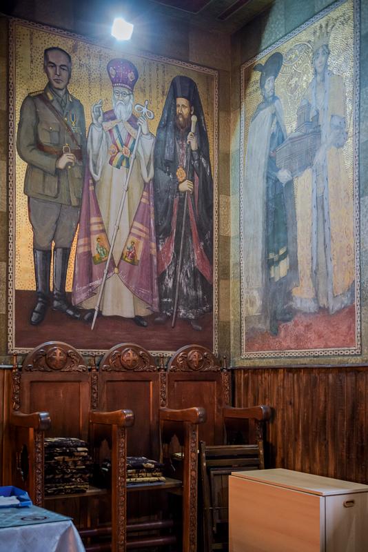 "Sankt-Nikolaus-Kirche des Klosters ""Mihai Vodă"", Fresko mit Marshall Antonescu, Bukarest, Serie Mobile Churches, 2013-2017 © Anton Roland Laub"